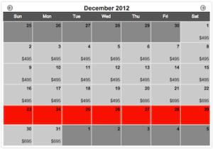 MyVR Rate Calendar